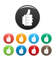 hand approval icons set color vector image vector image