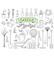 hand drawn garden tools set vector image vector image