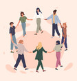 happy people holding hands together flat vector image vector image