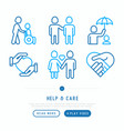 help and care thin line icons set vector image vector image