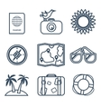 Icons of travel summer in the flat line style vector image vector image