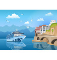 landscape with cruise ship near coast with vector image vector image