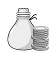 line coins cash money with bag vector image vector image
