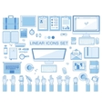 linear workplace icons collection flat vector image vector image