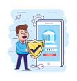 man with shield security and smartphone with vector image