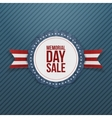 Memorial Day Sale realistic Emblem and Ribbon vector image vector image