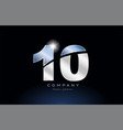 metal blue number 10 logo company icon design vector image vector image