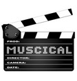 musical movie clapperboard vector image vector image