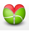 Red heart inside tennis ball vector image vector image