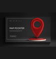 red map pointer isolated on black background find vector image vector image