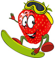 red strawberry surfing vector image vector image