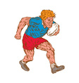 Rugby Player Running With Ball Woodcut vector image vector image
