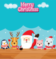 Santa Claus Animals On Wood vector image vector image