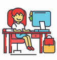 school girl study workplace table with computer vector image