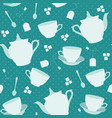 seamless pattern with cups and teapots vector image vector image