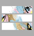 set artistic creative three cards with hand vector image