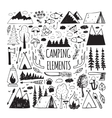 set hand-drawn elements for design logo camping vector image