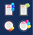 set happy birthday greetings frame balloon posters vector image vector image