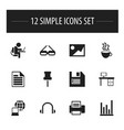 set of 12 editable bureau icons includes symbols vector image vector image