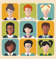 set of different nationality kids signs in vector image