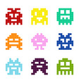 set of monochrome icons with pixel monsters vector image