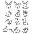 set rabbit bunny icons vector image vector image