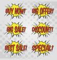 shopping sales bubble speech set vector image vector image