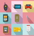signal system icons set flat style vector image