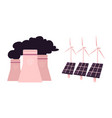 solar panels wind nuclear power station vector image vector image