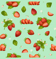 strawberries fresh red berries and leaves vector image