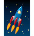 stylized retro rocket ship in space vector image