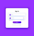 the login page purple gradient sign in form vector image vector image