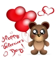 Valentine s day Teddy bear with balloons greetings vector image vector image