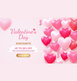 valentines day card with heart 3d and ribbon vector image vector image