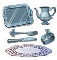 vintage silver tableware antique luxury dish vector image vector image