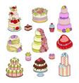 wedding cake set wed vector image