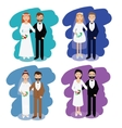 Wedding couples collection Smiling bride and vector image vector image