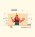 woman in festive hat celebrating online birthday vector image