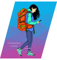 young woman is walking with a mobile phone vector image vector image