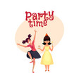 birthday girl and her friend dancing at party vector image