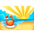 A beach with a crab vector image vector image