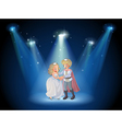 A stage with a prince and a princess vector image vector image