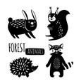 Black and white forest animals silhouettes