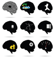 brain funny and cute silhouette vector image