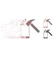 broken pixel halftone hammer break smartphone icon vector image vector image