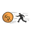 businessman chasing the big golden dollar coin vector image