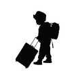 child with travel bag black vector image vector image