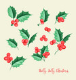 christmas mistletoe holiday set happy new year vector image