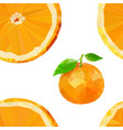 colored low poly orange fruit seamless pattern vector image vector image