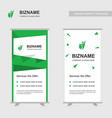 company ad banner design with green theme with vector image